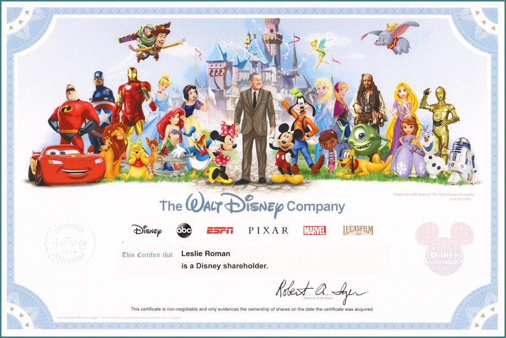 Disney Stock Certificate Template