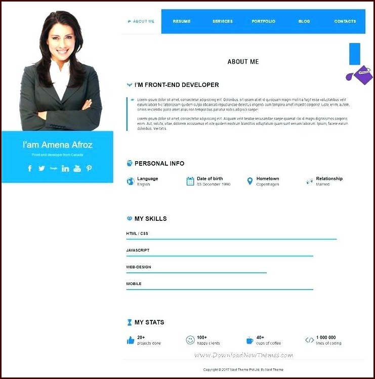 Free Resume Templates Wordpress