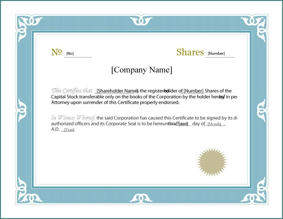 Stock Certificate Template For Word
