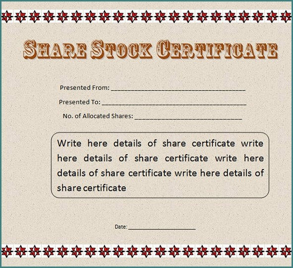 Stock Certificate Template Word Download