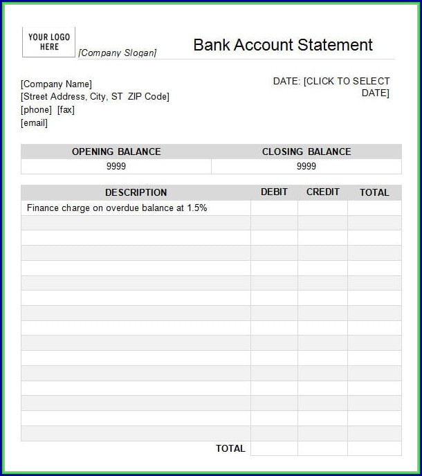 Bank Statement Template Download