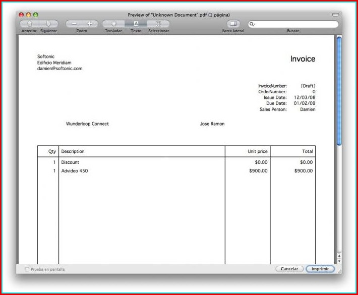 Free Invoice Template Mac