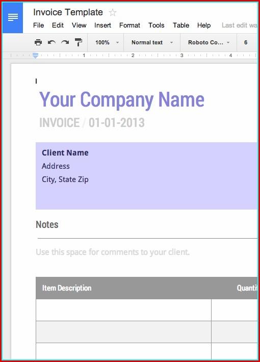 Free Invoice Templates Google Docs