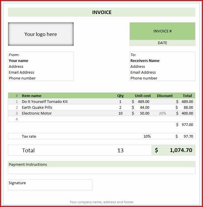 Free Invoice Templates In Excel