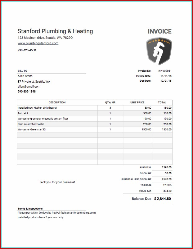 Free Invoice Templates To Fill In And Print