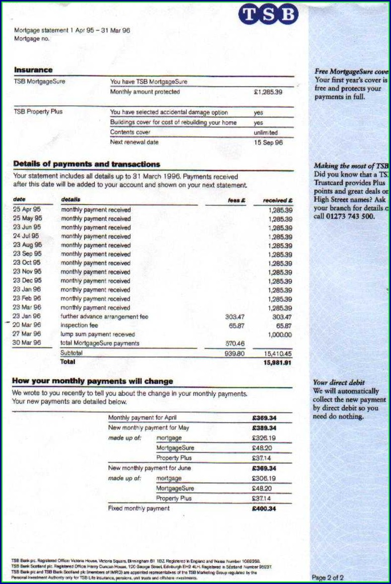 Tsb Bank Statement Template