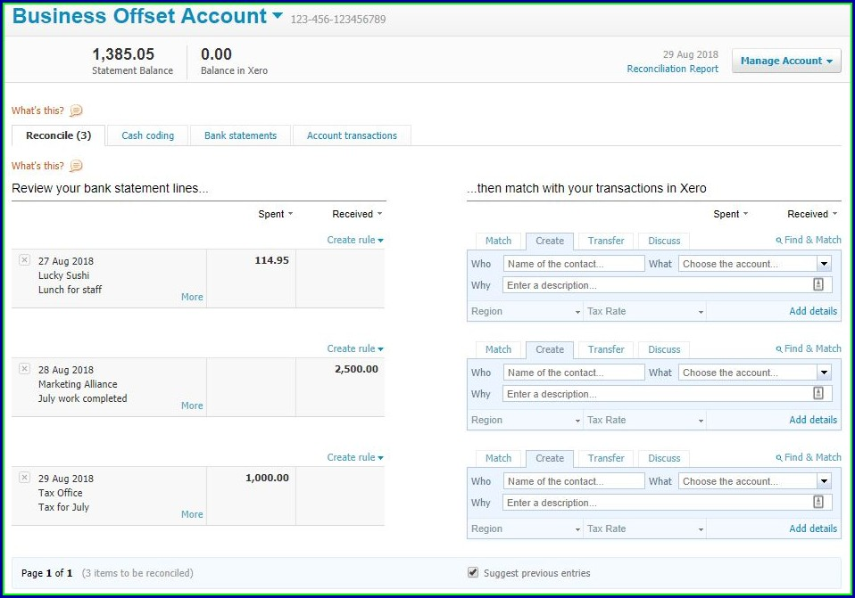 Xero Bank Statement Import Template