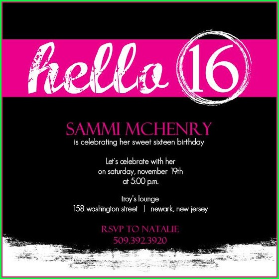 16th Birthday Invitation Templates Free
