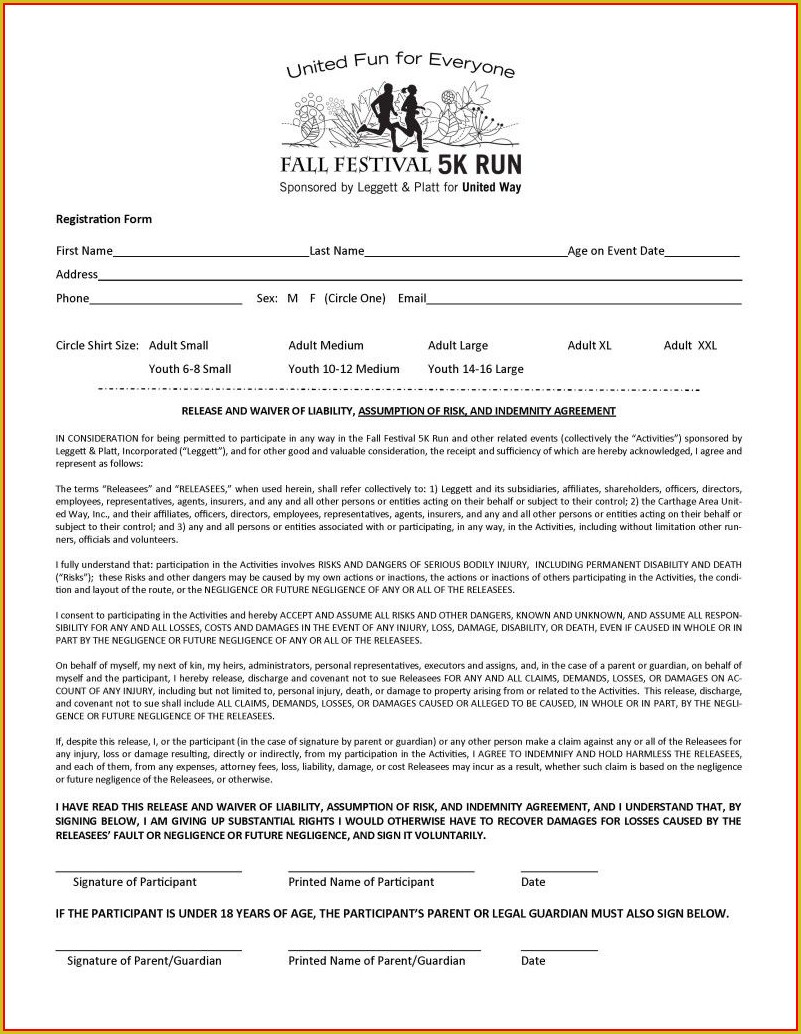 5k Registration Form Template Free