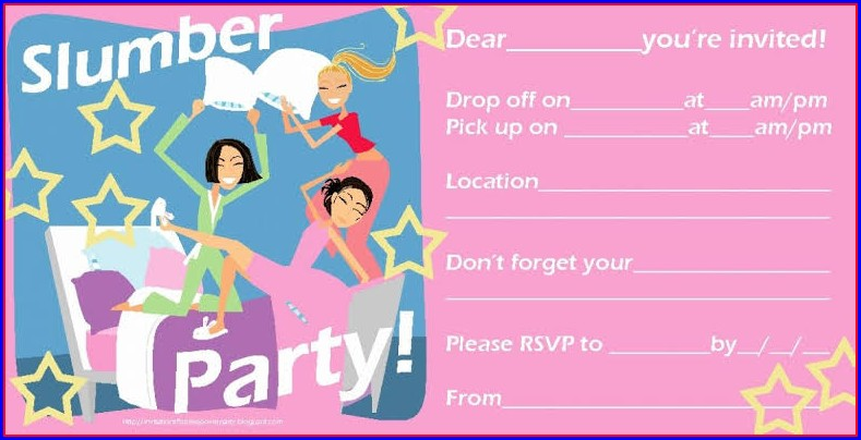 Blank Sleepover Invitation Template