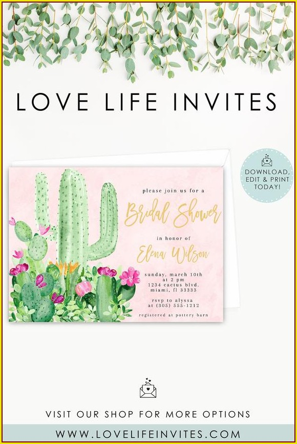 Cactus Invitation Template