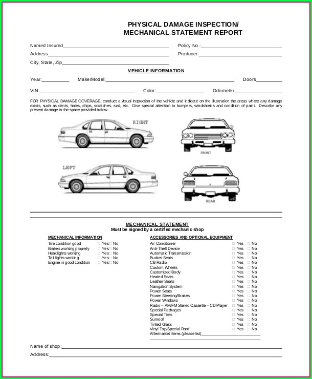 Car Rental Damage Form Template