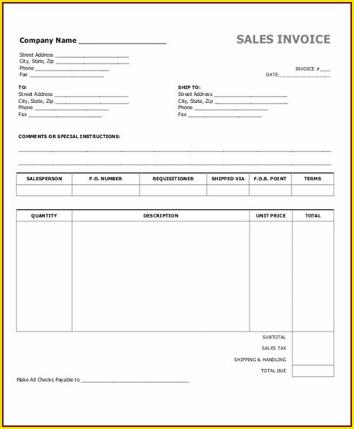 Cash Invoice Template Word