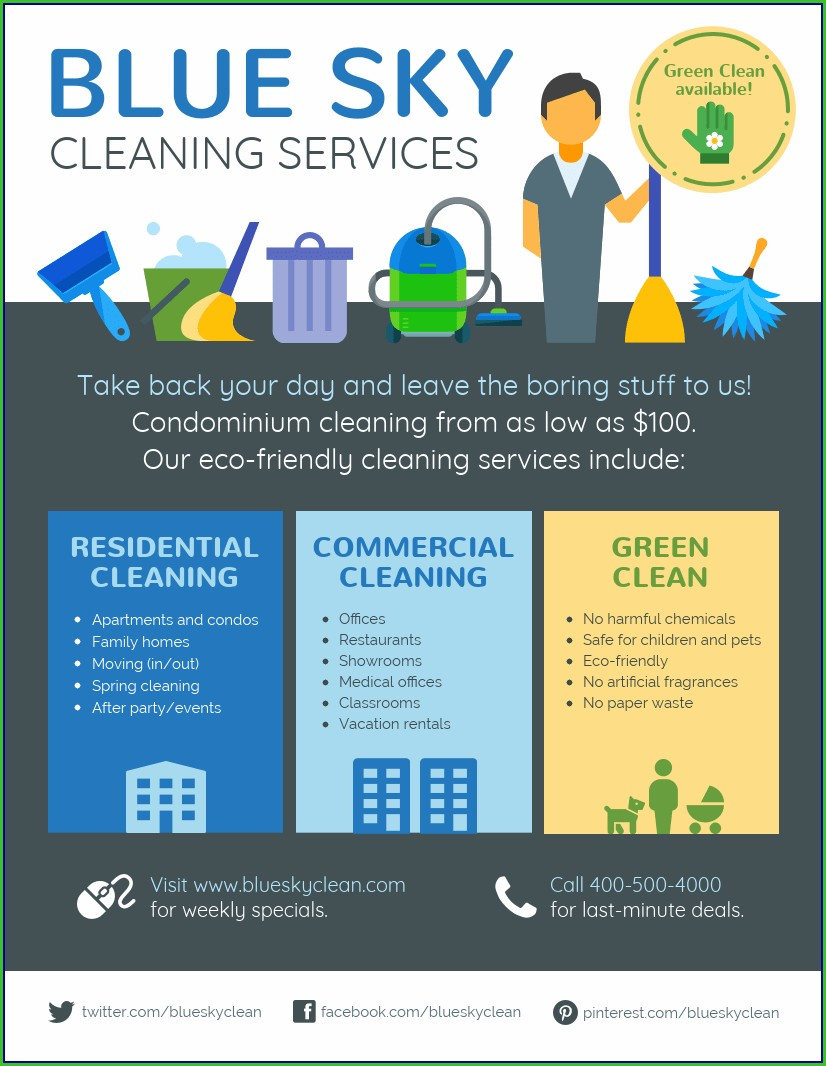 Cleaning Services Flyers Templates Free