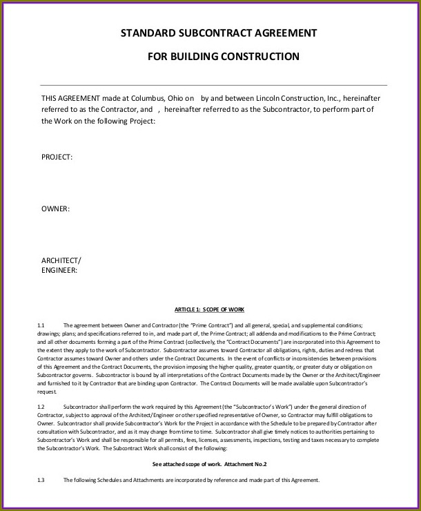 Construction Subcontractor Agreement Template South Africa