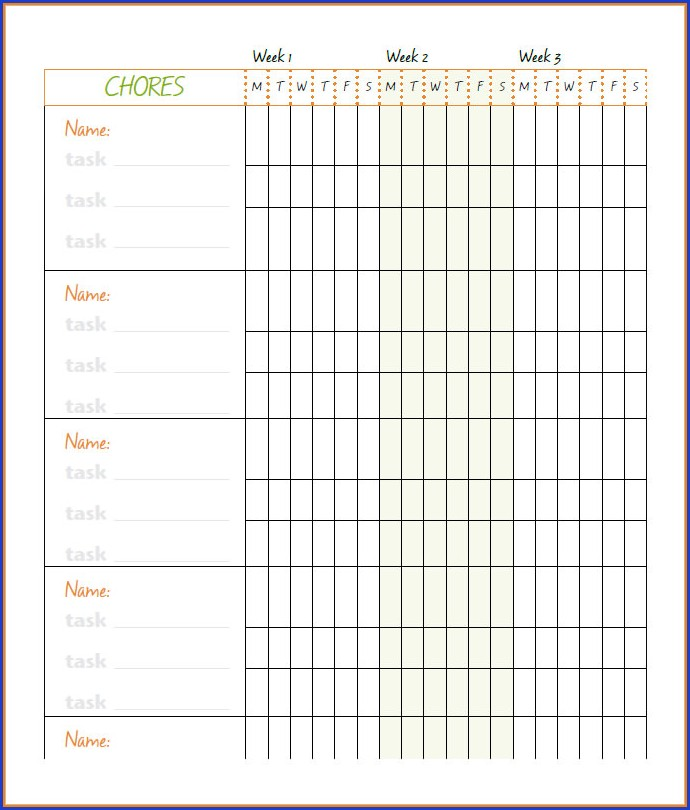 Customizable Chore Chart Template Excel