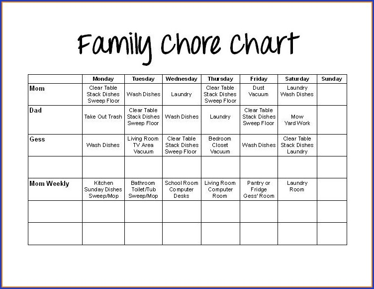 Customizable Family Chore Chart Template