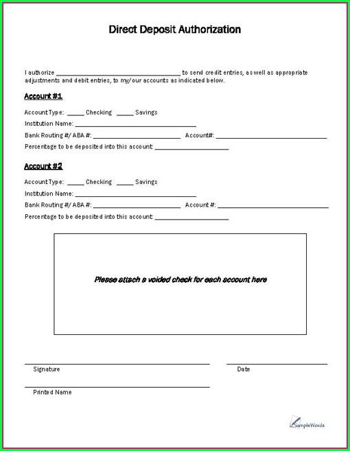 Direct Debit Authorization Form Template