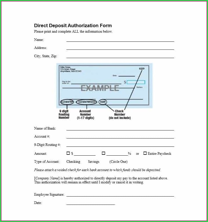 Direct Debit Form Template Word