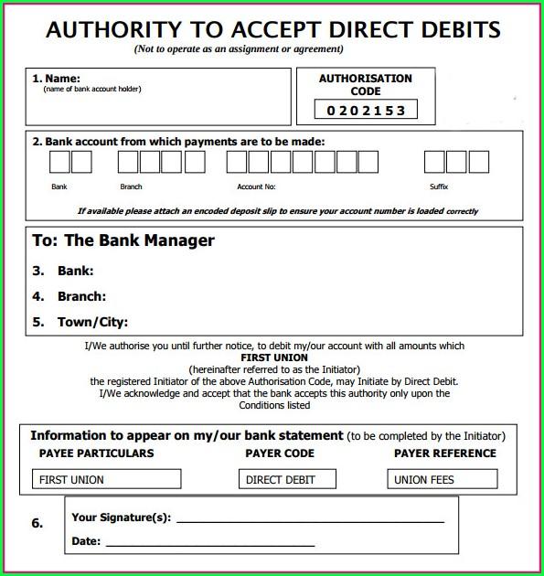 Direct Debit Form Template