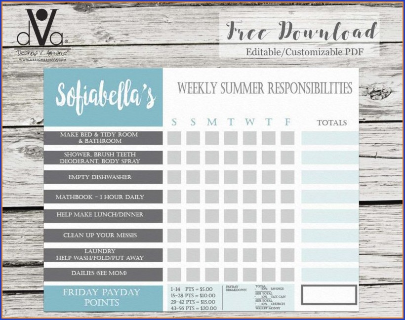 Editable Customizable Chore Chart Template