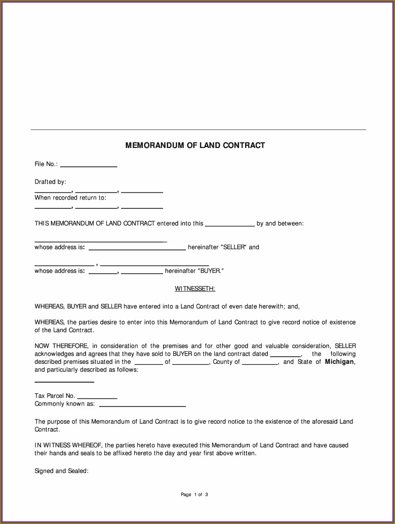 Free Land Contract Template Michigan