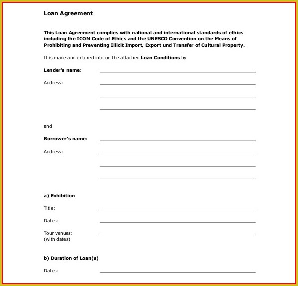 Free Loan Agreement Template Word