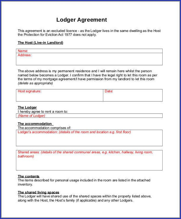 Free Lodger Agreement Template Uk