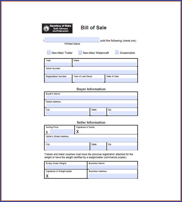Free Printable Rv Bill Of Sale Template