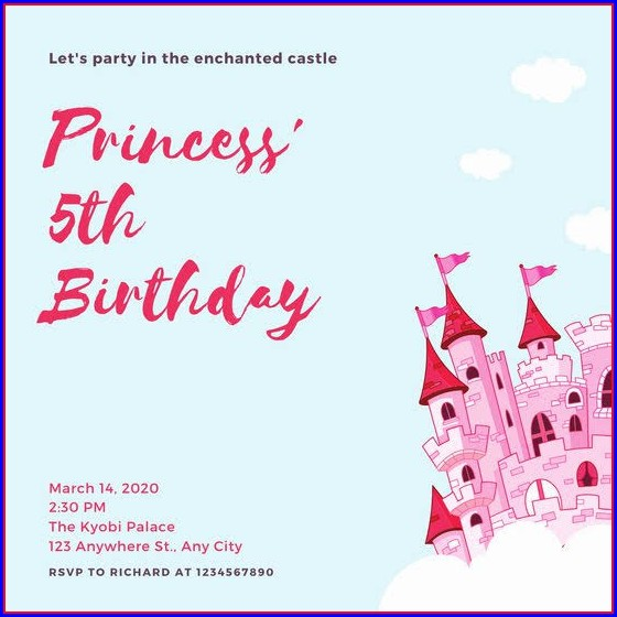 Layout Disney Princess Invitation Template