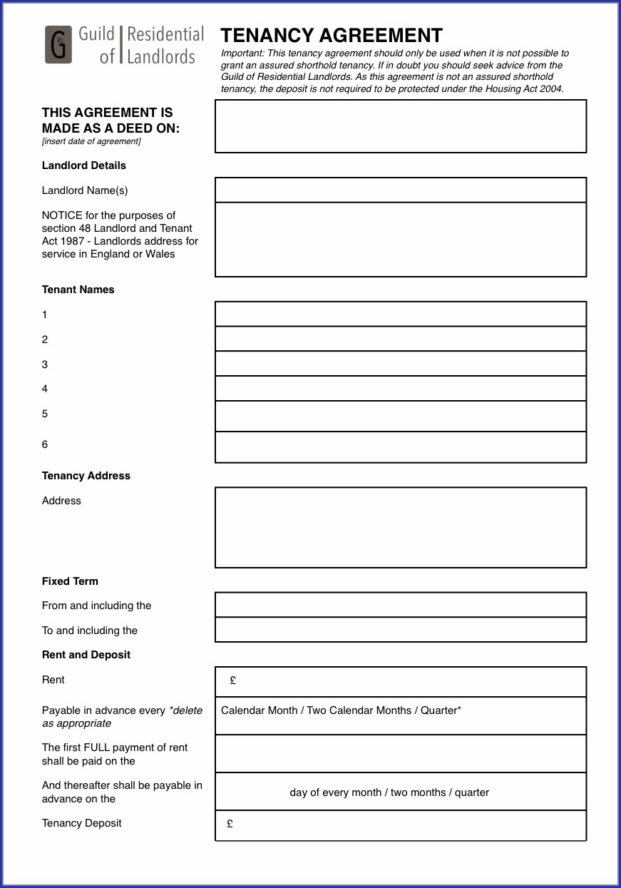 Lodger Agreement Template Pdf