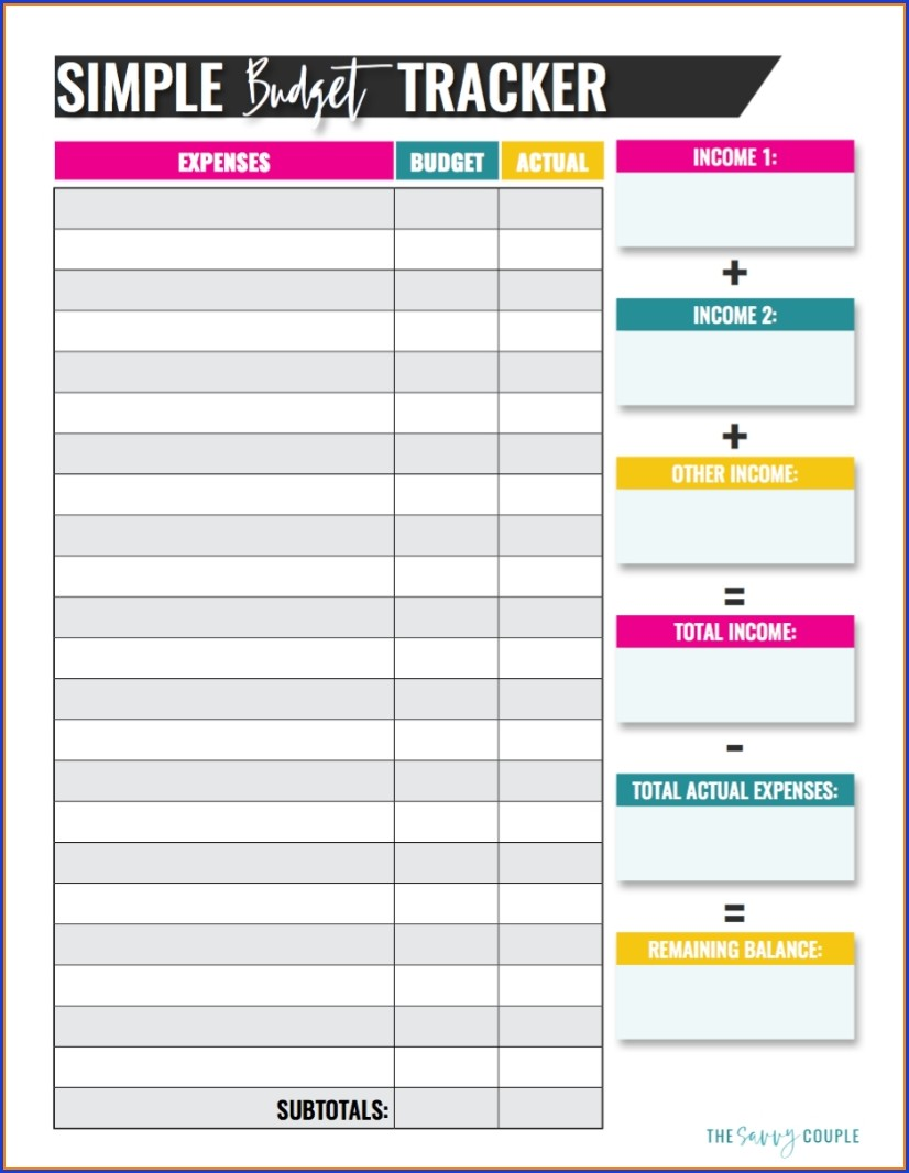 Monthly Household Budget Template Free Printable