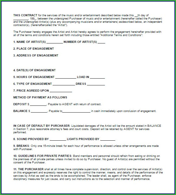 Music Booking Contract Template