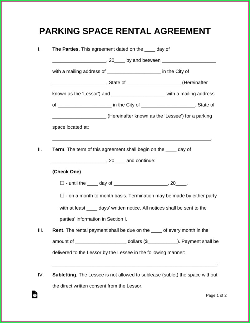 Parking Lot Lease Agreement Template
