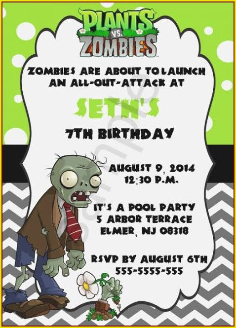 Plants Vs Zombies Birthday Invitation Template