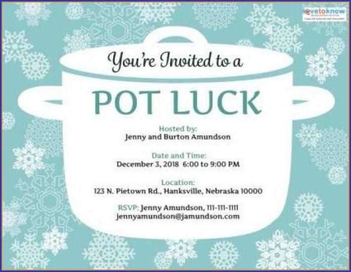 Potluck Lunch Invitation Template Free Printable