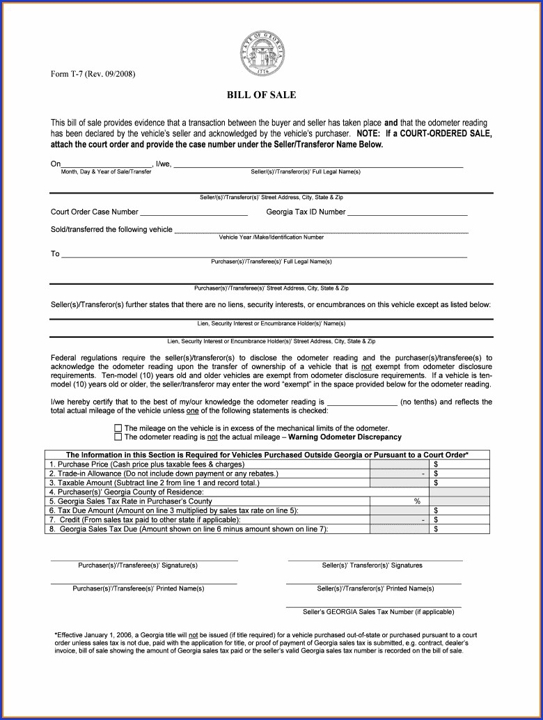 Printable Free Bill Of Sale Template Ga