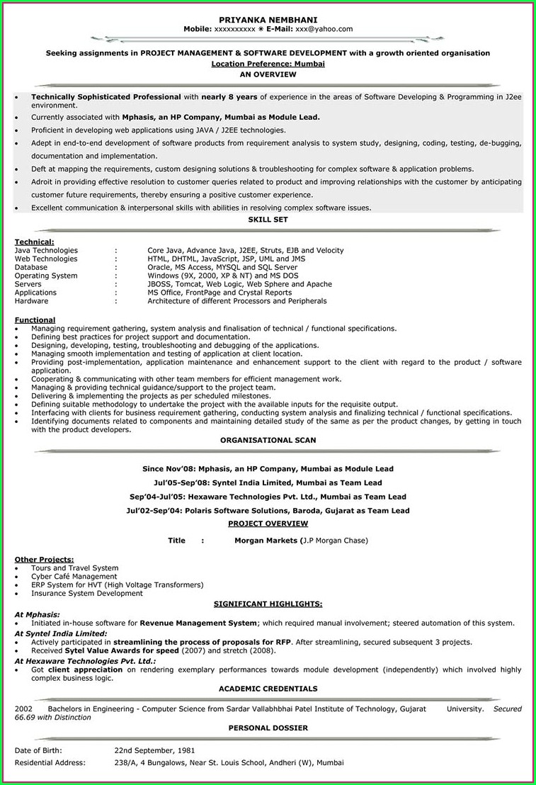 Resume Templates For Experienced Software Engineers