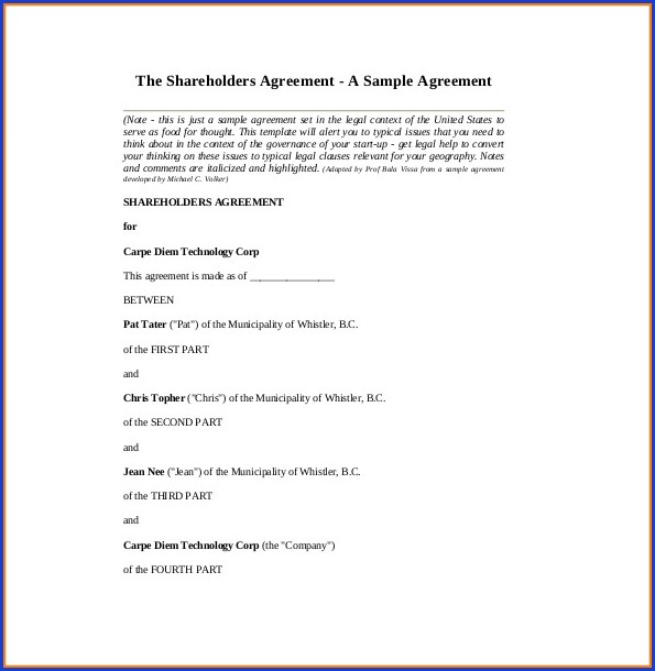 Shareholders Agreement Template Word Uk