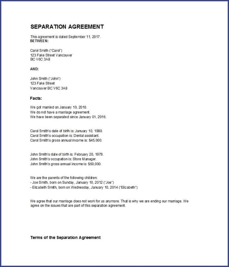 Simple Separation Agreement Template Bc