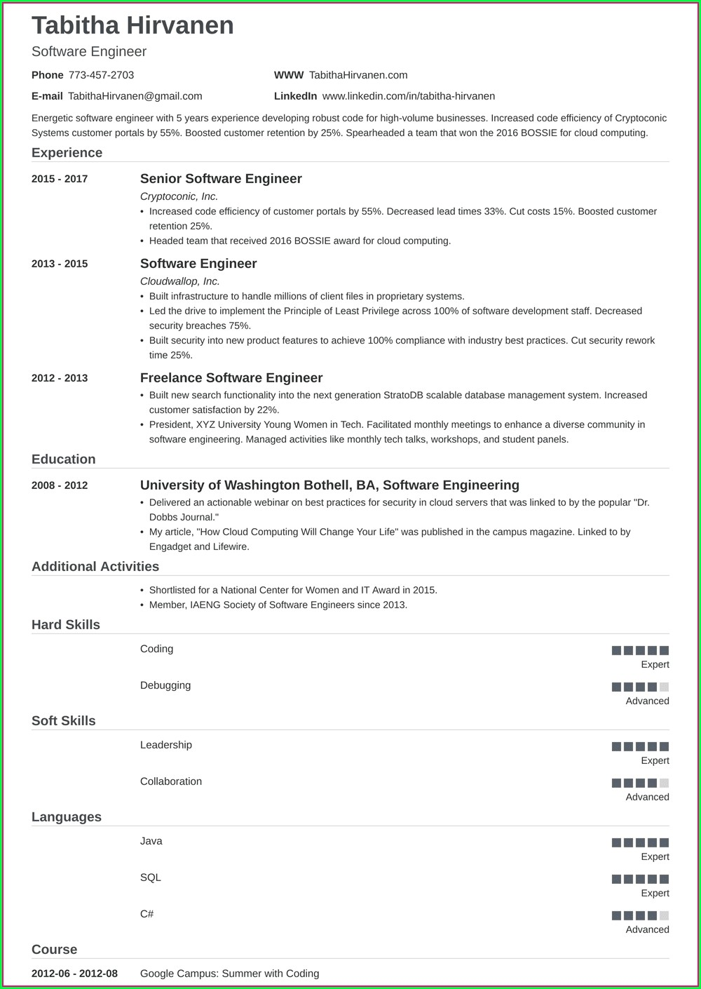Software Engineer Resume Template