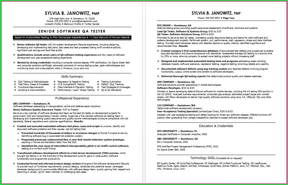 Software Testing Resume Template