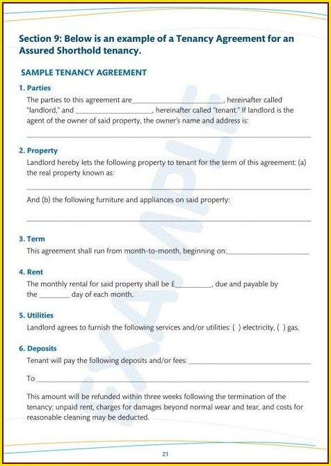 Tenancy Agreement Template Pdf Uk