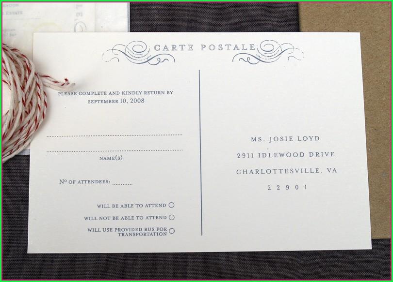 Wedding Rsvp Postcard Template Free