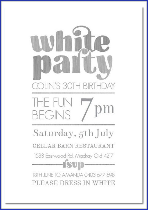 White Party Invitation Template