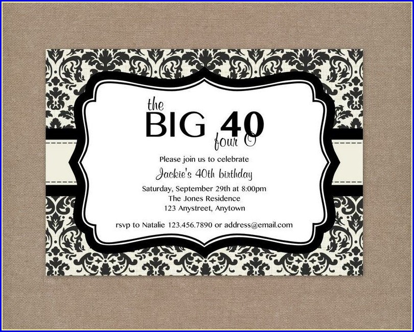 40th Birthday Invitation Templates Free Printable