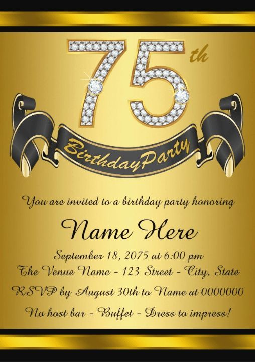 75th Birthday Invitation Templates