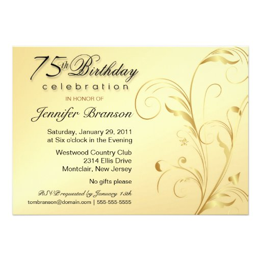 75th Birthday Party Invitation Templates