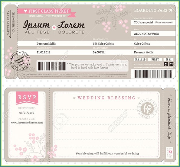 Boarding Pass Ticket Invitation Template Design