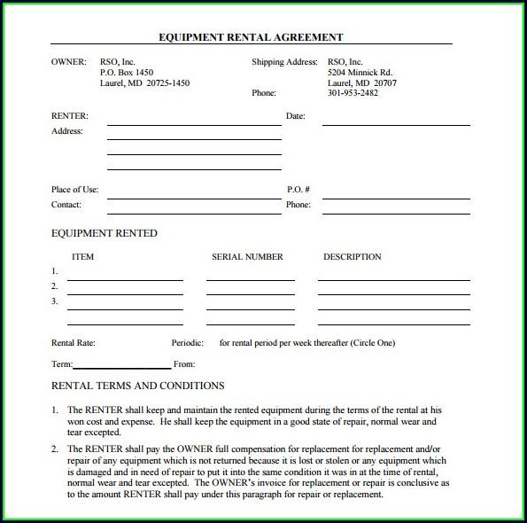 Simple Equipment Rental Agreement